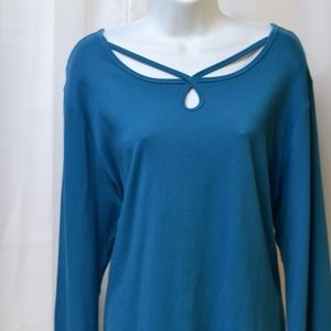 Westbound 11 Plus 2X Stretch Long Sleeve Teal Blue